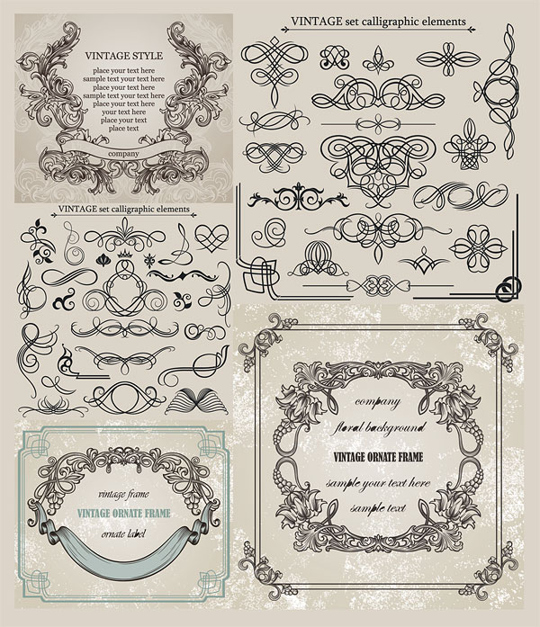 European classic lace pattern vector material