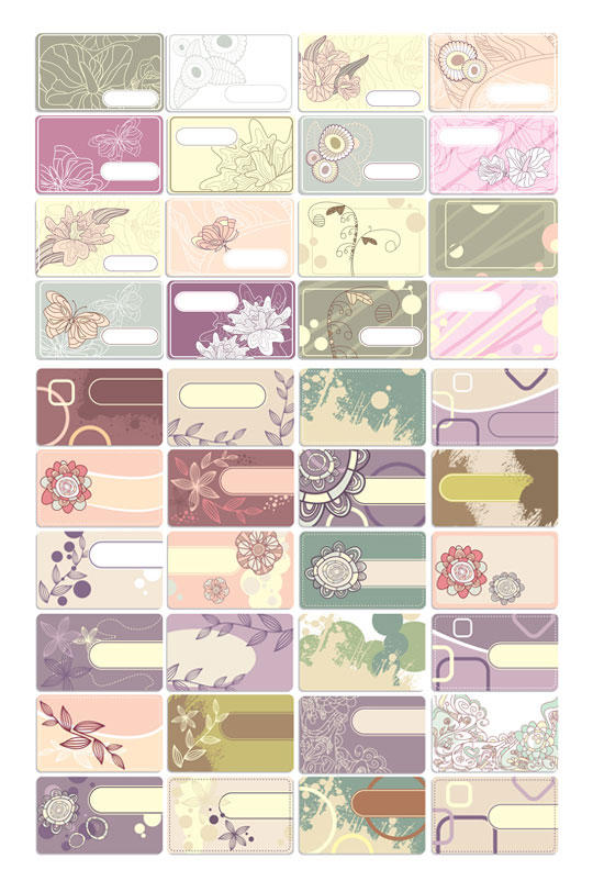 Flower theme line drawings card Vector