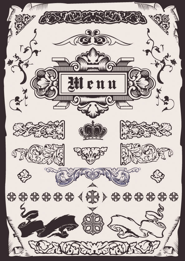 European-style menu pattern vector material