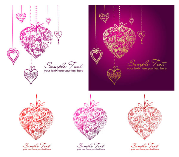 Heart-shaped pendant composed of pattern vector material