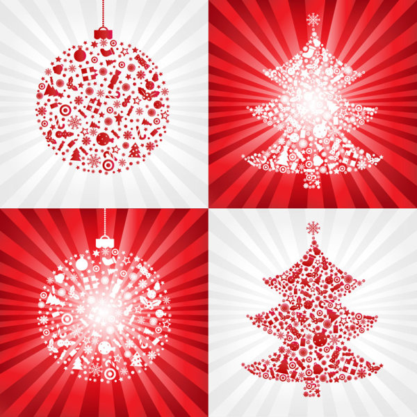 Red Christmas ball with Christmas tree - vector material