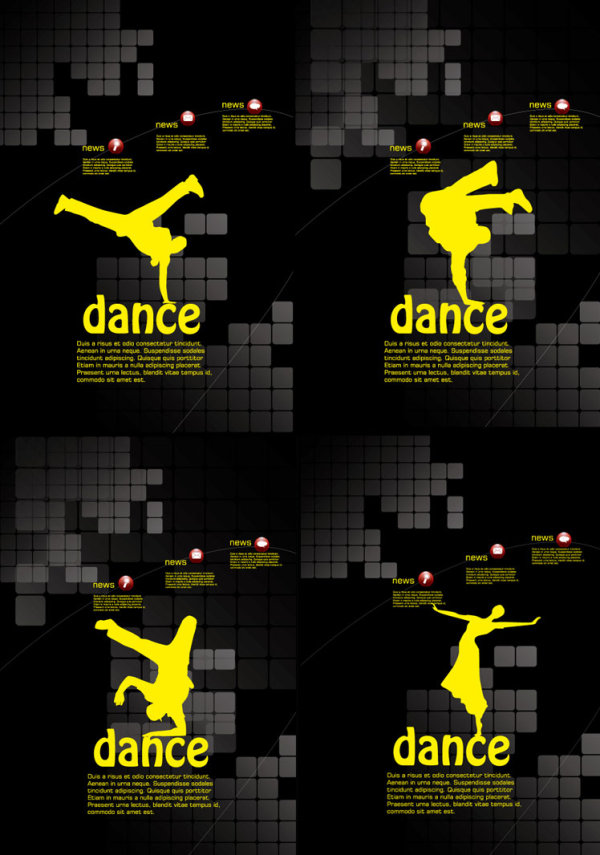 Dancing theme posters template vector material