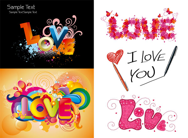 Colorful love pattern vector material