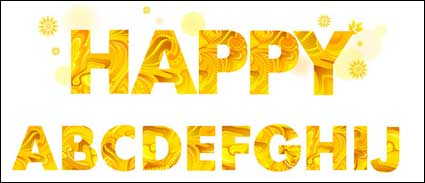 Yellow autumn letters vector material