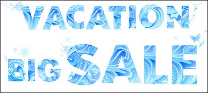 Blue Vector material letters summer