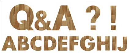 Simple wooden alphabet vector material