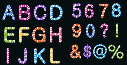 Candy colored letters and figures vector material