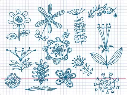 Cute little flowers painted vector material