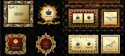 European honourable label and border vector of material