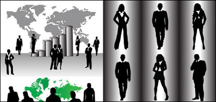 Business people silhouette vector of material