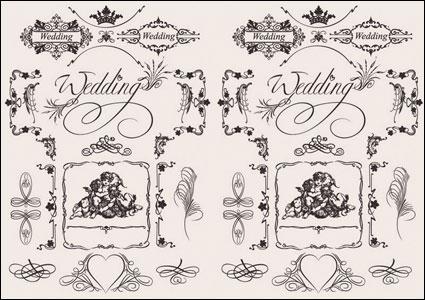 European wedding pattern vector material