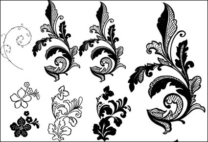 Side flower pattern vector background material