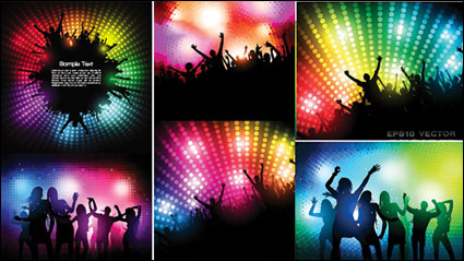 The trend of party figures silhouette vector material