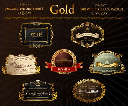 ornate gold label Vector
