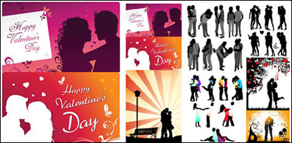 Romantic lover silhouette vector
