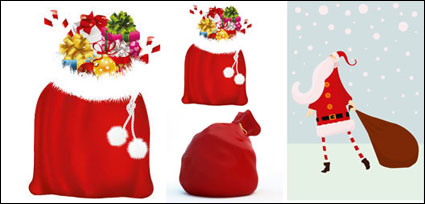 Santa Claus and gift bags - Vector
