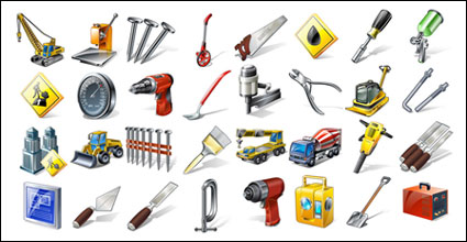Engineering equipment, tools, people and goods icon