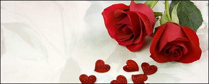 Two red roses and heart-shaped picture