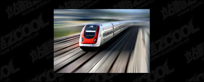High-speed trains travelling on the picture material