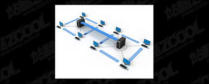 3D computer network connecting picture material -3