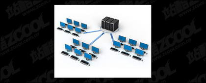 3D computer network connecting picture material-9