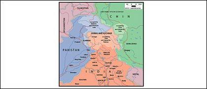 Vector map of the world - Kashmir, Jammu map