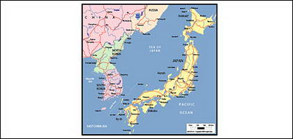 Vector map of the world - Japan map