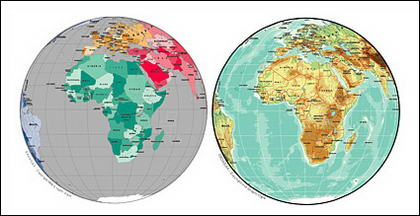 Vector map of the world exquisite material - spherical map of Africa