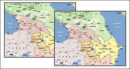 Vector map of the world exquisite material - the Caucasus map