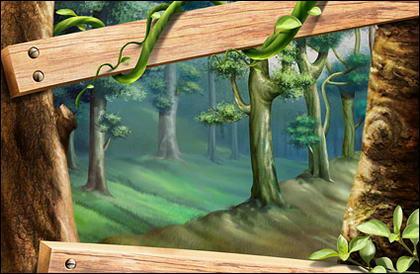 Wood, trees, leaves, rattan plant
