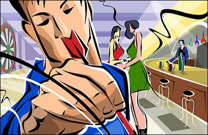 Hand-painted illustrations Bar figures - men, women