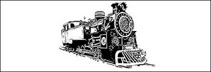 Black and white locomotive vec
