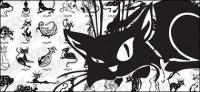 เวกเตอร์การ์ตูนแมววัสดุ