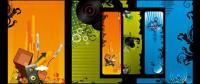 Musik-förmigen vertikale Banner-Thema-Vektor-material