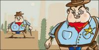Material de vetor de vaqueiro cartoon Ocidental