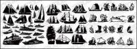 A number of sailing vessels vector-cut material