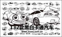vehículos de motor de dibujos animados clásicos en blanco y negro de vectores de material de diseño