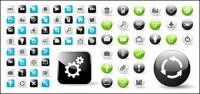 web2.0 のウェブ デザインのラウンド、正方形のアイコンのアイコン ベクトル材料