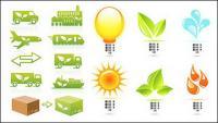Tema delicado do material de vetor de ícone de proteção ambiental
