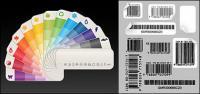 カラー紙カード バー コード ベクトル材料