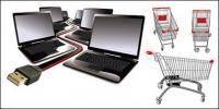 Laptop e material de vetor de carrinho