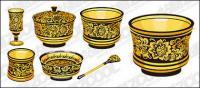 Material de vectores de patrón clásico serie -1 - utensilios de oro