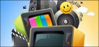 벡터 다채로운 멀티미디어 자료