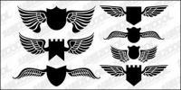 Escudo de alas de vector material