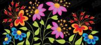 ผีเสื้อน่ารักรูปดอกไม้เวกเตอร์วัสดุ