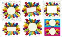 Border stars colorful three-dimensional vector material