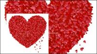 Herzen Bl�tenbl�tter gebildet durch das Streben nach gro�en Pfirsich Herz-Vektor-material