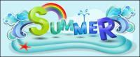 Material de diseño de fuentes de verano tema vectores