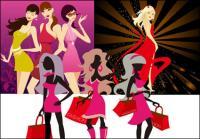 3 أنواع من النساء الموضة متجهة من المواد