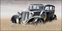 Rumput materi dalam vektor mobil tua